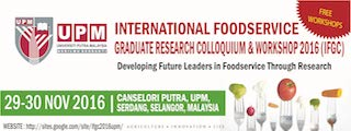 1ST INTERNATIONAL FOOD SERVICE GRADUATE RESEARCH COLLOQUIUM AND WORKSHOP